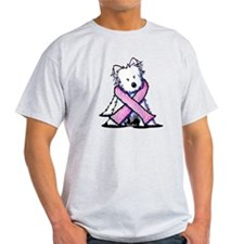 Pink Ribbon Westie T-Shirt