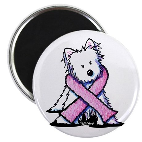 Pink Ribbon Westie Magnet