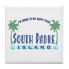 South Padre Happy Place - Tile Coaster