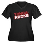 Tonga Rocks Women's Plus Size V-Neck Dark T-Shirt
