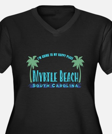 Myrtle Beach Happy Place - Women's Plus Size V-Nec