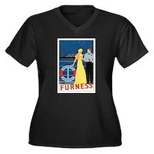 Bermuda Queen Women's Plus Size V-Neck Dark T-Shir
