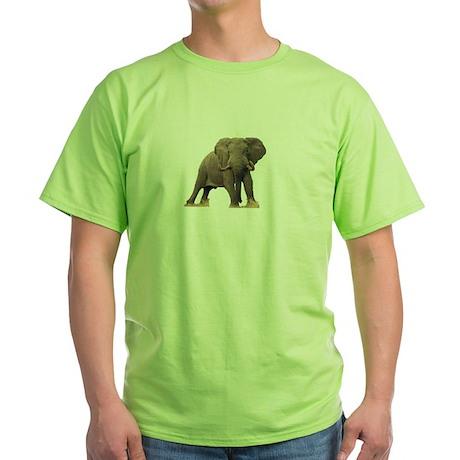 Elephant Portrait Green T-Shirt