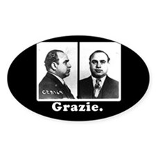 Al Capone Tipjar Decal GRAZIE Oval Decal