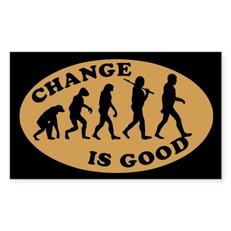 CHANGE IS GOOD Coffee Tip Jar Rectangle Sticker