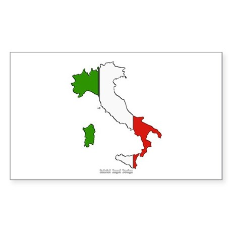 Italy Flag Map Rectangle Sticker
