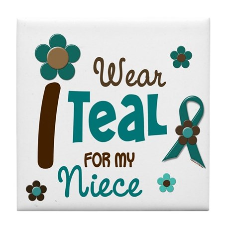 I Wear Teal For My Niece 12 Tile Coaster