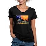 Give Us Lumber Women's V-Neck Dark T-Shirt