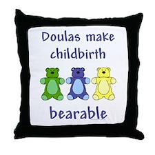 Doulas/ Bearable Throw Pillow