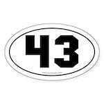 #43 Euro Bumper Oval Sticker -White