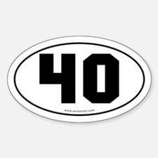 #40 Euro Bumper Oval Sticker -White