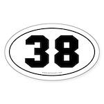 #38 Euro Bumper Oval Sticker -White