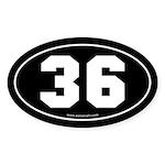 #36 Euro Bumper Oval Sticker -Black
