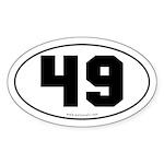 #49 Euro Bumper Oval Sticker -White