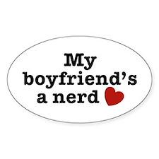 My Boyfriend's a Nerd Oval Decal