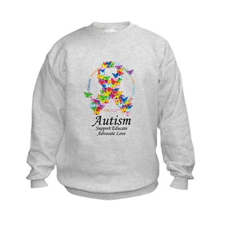 Autism Butterfly Ribbon Kids Sweatshirt