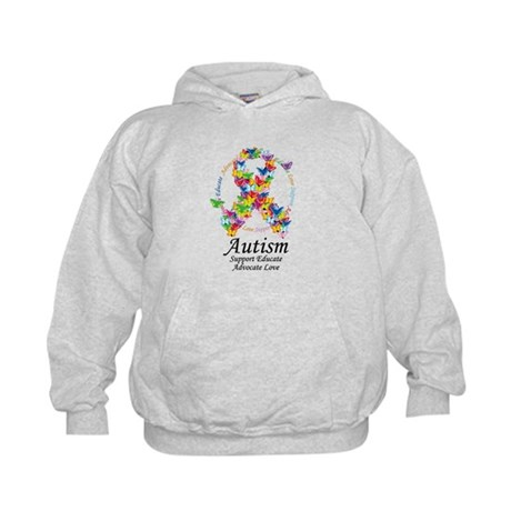 Autism Butterfly Ribbon Kids Hoodie