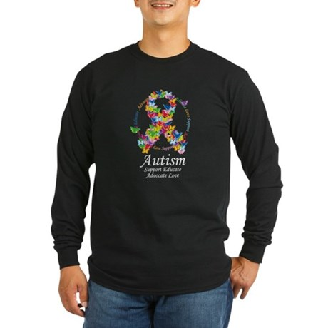 Autism Butterfly Ribbon Long Sleeve Dark T-Shirt