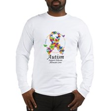 Autism Butterfly Ribbon Long Sleeve T-Shirt