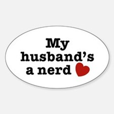 My Husband's a Nerd Oval Decal