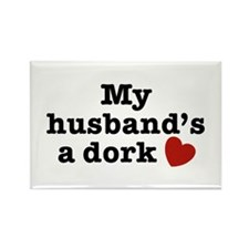 My Husband's a Dork Rectangle Magnet