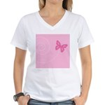 Pink Ribbon Butterfly Women's V-Neck T-Shirt