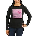 Pink Ribbon Butterfly Women's Long Sleeve Dark T-S