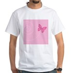 Pink Ribbon Butterfly White T-Shirt