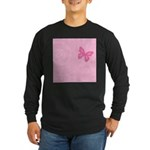 Pink Ribbon Butterfly Long Sleeve Dark T-Shirt