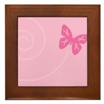 Pink Ribbon Butterfly Framed Tile