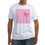 Pink Ribbon Butterfly Fitted T-Shirt
