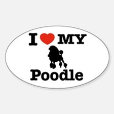 I love my Poodle Oval Decal