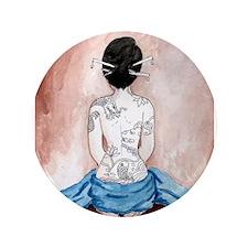 "Blue Silk - Tattooed 3.5"" Button"