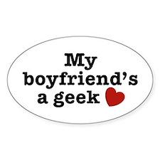My Boyfriend's a Geek Oval Decal