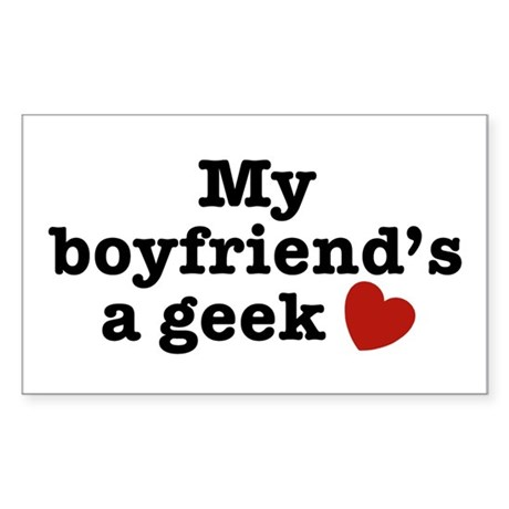 My Boyfriend's a Geek Rectangle Sticker