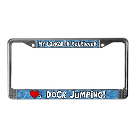Dock Jumping Labrador Rtvr License Plate Frame