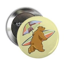 "Surfing Beach Bear 2.25"" Button (100 pack)"