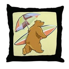 Surfing Beach Bear Throw Pillow