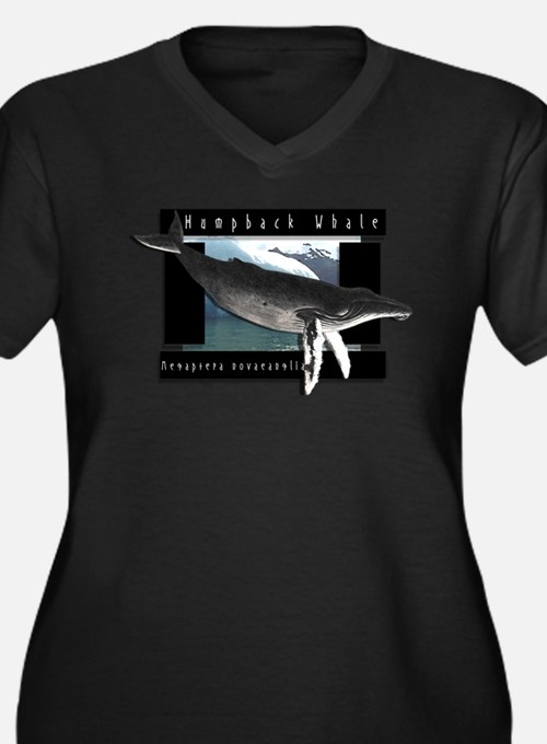 HumpBack Whale Art Women's Plus Size V-Neck Dark T