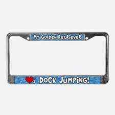 Dock Jumping Giant Schnauzer License Plate Frame