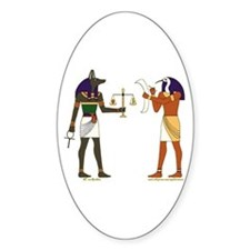 Anubis and Thoth Art Oval Decal
