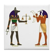Anubis and Thoth Art Tile Coaster