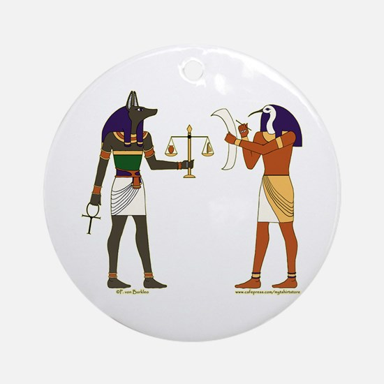 Anubis and Thoth Art Ornament (Round)