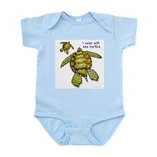 I Swim With Sea Turtles Infant Bodysuit