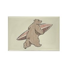 Surfing Brown Bear Rectangle Magnet