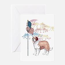 USA Flag St Bernard Greeting Card