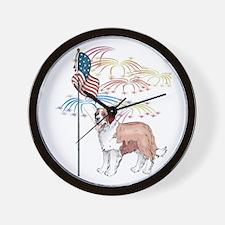 USA Flag St Bernard Wall Clock