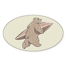 Surfing Brown Bear Oval Decal
