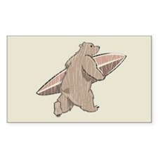 Surfing Brown Bear Rectangle Decal