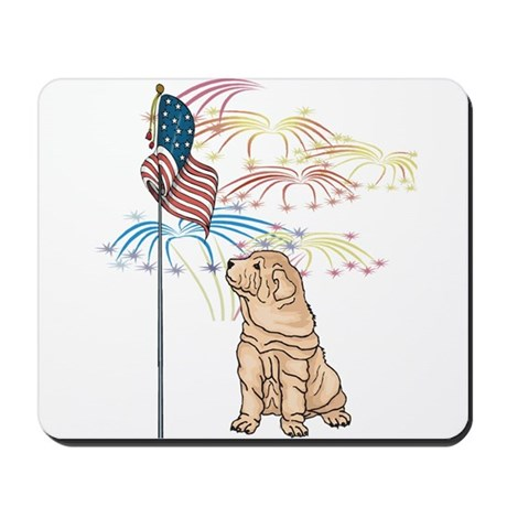 USA Flag Shar-Pei Mousepad